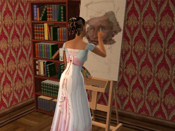 Cecily paints Ariannas portrait