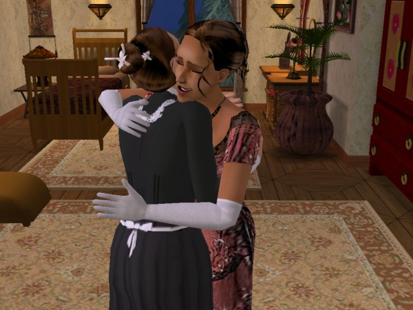Cecily and Carol embrace