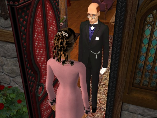 The butler greets Cecily