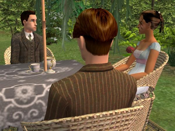 Samuel glances at Cecily