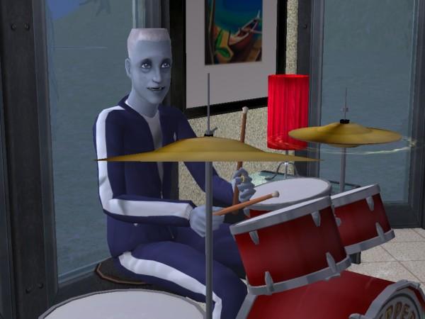 Juan plays drums