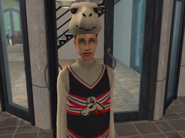 Ruby in her llama suit
