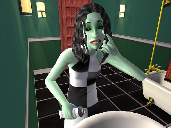 Cleo applies acne cream