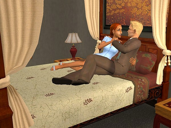 Kyle and Maura relax in bed