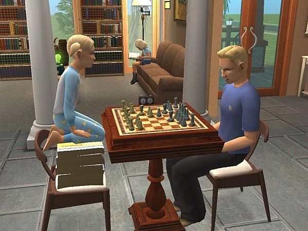 Aurora plays chess with Kyle